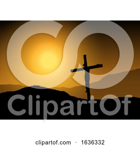 Jesus on Cross at Sunset Posters, Art Prints