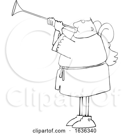 Cartoon Black and White Male Angel Playing a Trumpet by djart