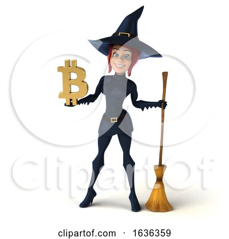 3d Sexy Blue Witch Holding a Bitcoin Symbol, on a White Background by Julos
