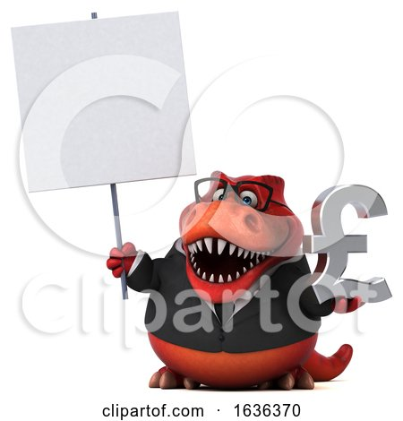 3d Red Business T Rex Dinosaur, on a White Background by Julos