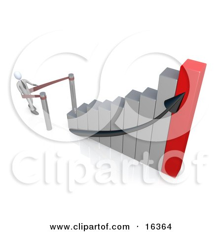 Businessman Standing In Line And Waiting For His Turn To Climb To Success And Up A Silver And Red Bar Graph Chart Clipart Illustration Graphic by 3poD
