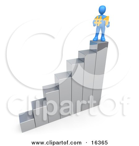 Successful Blue Perosn Standing On Top Of A Silver Bar Graph Chart And Holding A #1 Sign Clipart Illustration Graphic by 3poD