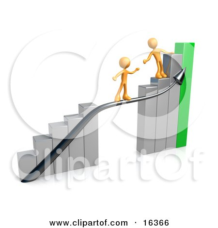Orange Person Standing On A Silver And Green Bar Graph Chart, Reaching Back To Assist Another Person Up To The Top Clipart Illustration Graphic by 3poD
