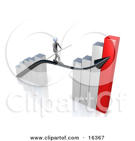 Corporate Businessman Holding A Balance Beam While Walking On An Increase Black Arrow On A Silver And Red Bar Graph Chart Clipart Illustration Graphic by 3poD