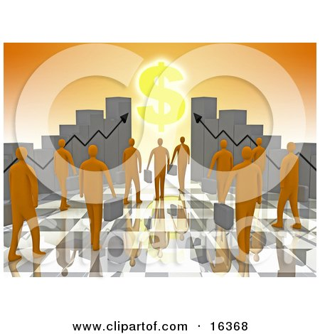 Group Of Orange People Carrying Briefcases Towards An Entrance Framed By Bar Graph Charts With A Dollar Symbol Shining Like The Sun  Posters, Art Prints