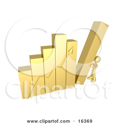 Gold Person Pushing Up The Last Column On A Bar Graph Chart Symbolizing Effort And Success Clipart Illustration Graphic