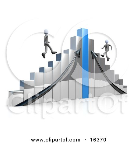 Two Competitive Businessmen Racing Up Different Sides Of A Chrome And Blue Bar Graph Chart  Posters, Art Prints