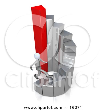 Competitive Business Man Running Up The Tiers Of A Spiraling Gold And Red Bar Graph Chart  Posters, Art Prints