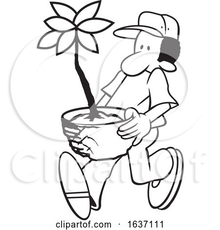 Cartoon Black And White Male Gardener Carrying A Potted Plant By