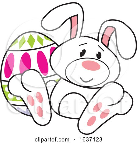 White Easter Bunny with an Egg Posters, Art Prints