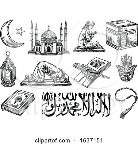 Sketched Black and White Islam Icons by Vector Tradition SM
