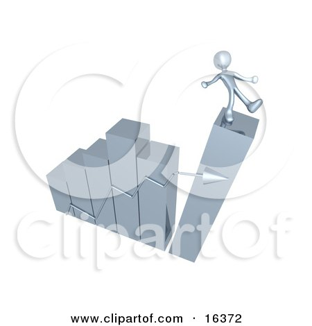 Silver Person Slipping And About To Fall While Standing On Top Of A Bar Graph Chart That Is Collapsing, Symbolizing Bankruptcy And Failure  Posters, Art Prints