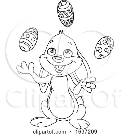 Cartoon Black and White Easter Bunny Juggling Eggs Posters, Art Prints
