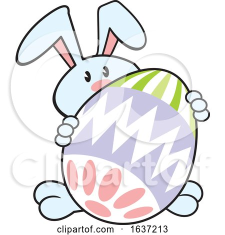 Cartoon Blue Easter Bunny with a Giant Egg Posters, Art Prints