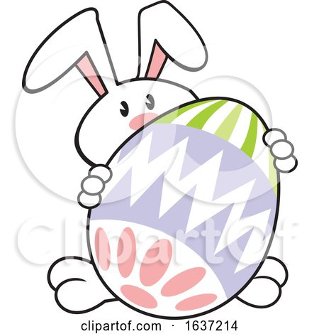Cartoon White Easter Bunny with a Giant Egg Posters, Art Prints