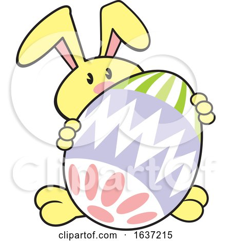 Cartoon Yellow Easter Bunny with a Giant Egg Posters, Art Prints