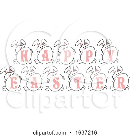 Bunny Rabbits with Eggs Spelling Happy Easter Posters, Art Prints