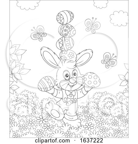 Black and White Easter Bunny Balancing Easter Eggs Posters, Art Prints