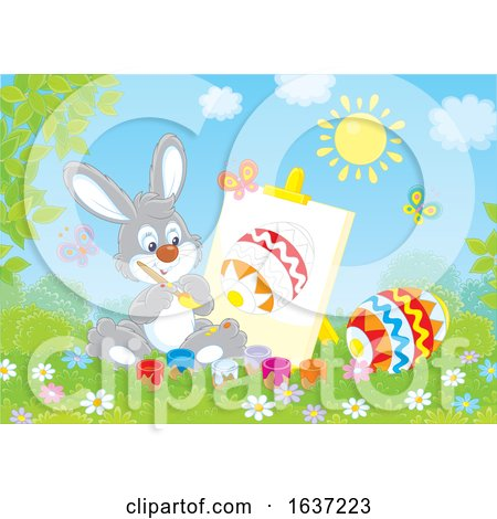 Easter Bunny Painting an Egg on Canvas Posters, Art Prints