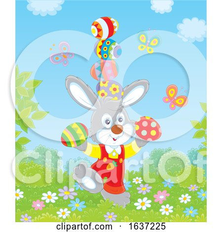 Easter Bunny Balancing Easter Eggs Posters, Art Prints