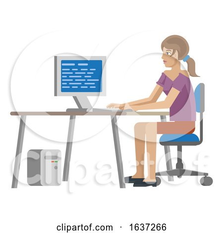 Woman Working at Desk in Business Office Cartoon by AtStockIllustration