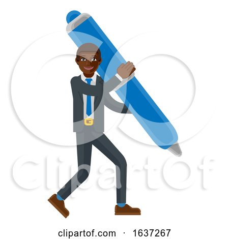 Black Business Man Holding Pen Mascot Concept by AtStockIllustration