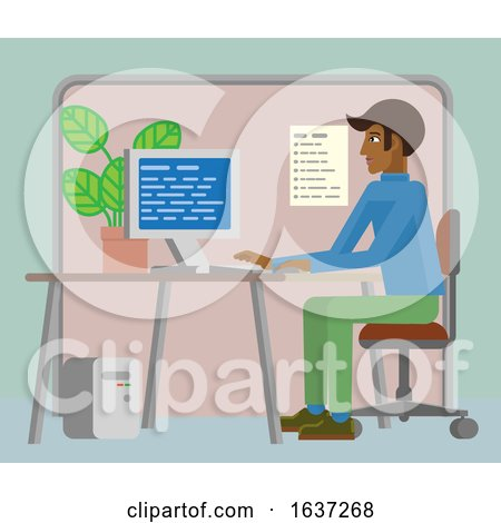 Man Working at Desk in Office Cartoon by AtStockIllustration