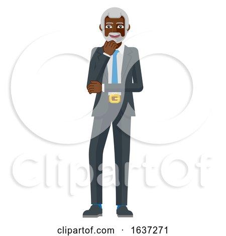 Mature Black Business Man Thinking Mascot Concept by AtStockIllustration