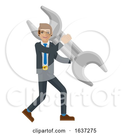 Business Man Holding Spanner Wrench Mascot Concept by AtStockIllustration