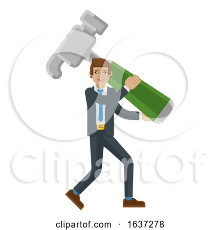 Business Man Holding Hammer Mascot Concept by AtStockIllustration