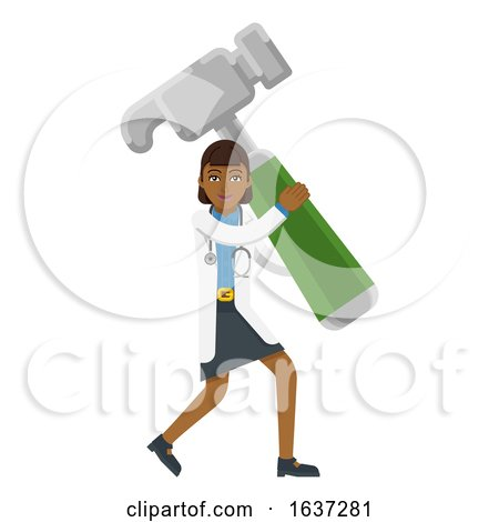 Asian Doctor Woman Holding Hammer Mascot by AtStockIllustration