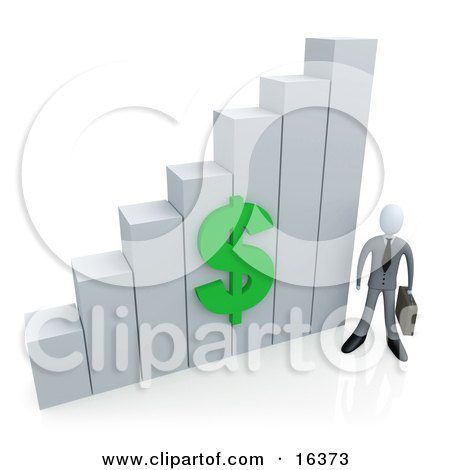 Businessman Holding A Briefcase And Standing Beside A White Bar Graph Chart With A Green Dollar Symbol On It  Posters, Art Prints