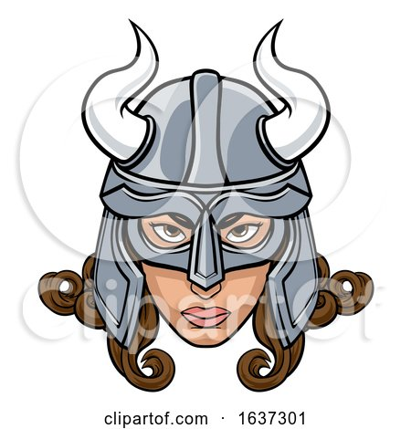 Viking Woman Warrior Mascot by AtStockIllustration