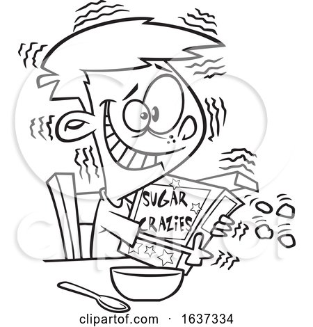 Cartoon Black and White Jittery Boy Hugging a Sugary Cereal Box by toonaday