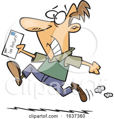 Cartoon Stressed White Man Rushing to File His Taxes by the Deadline by toonaday