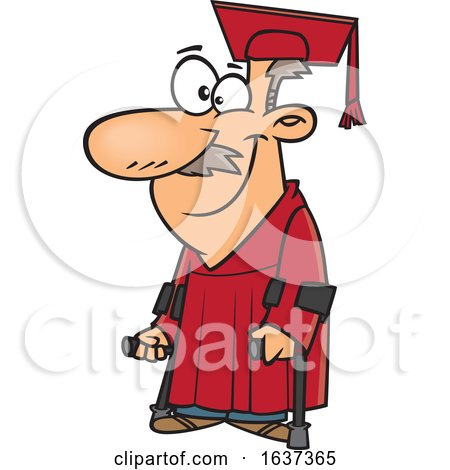 Cartoon Happy Older White Male Graduate with Canes by toonaday