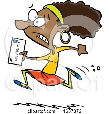 Cartoon Black Woman Running to File Taxes by the Deadline by toonaday
