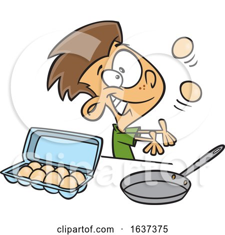 Cartoon White Boy Juggling and Preparing to Make Scrambled Eggs by toonaday