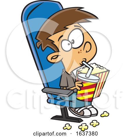 Cartoon White Boy Sipping a Fountain Soda and Holding Popcorn While Watching a Matinee Movie Posters, Art Prints