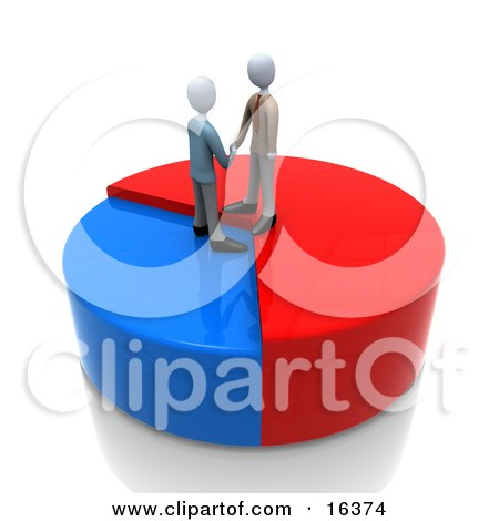 Two Businessmen Standing On A Pie Chart, Shaking Hands And Agreeing On A Deal  Posters, Art Prints