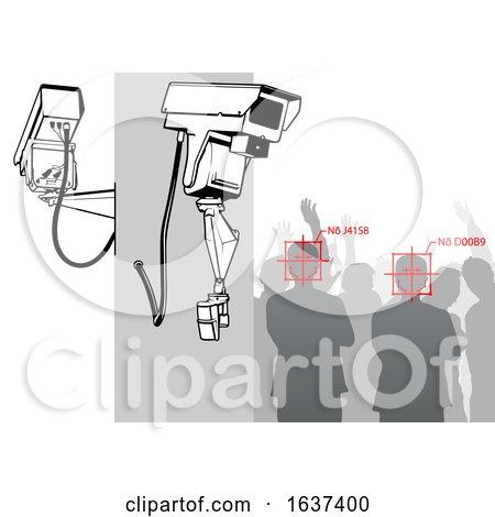 Facial Recognition Surveillance Cameras and a Crowd by dero