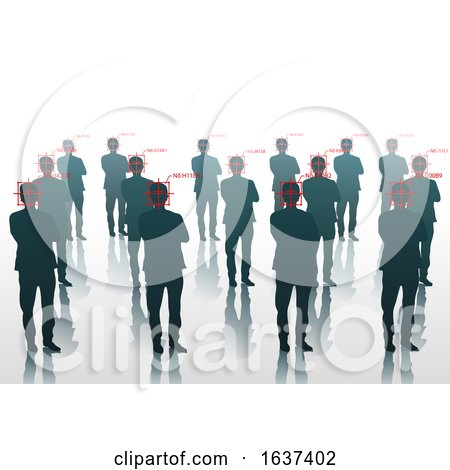 People in a Crowd Being Identified with Facial Recognition Software by dero