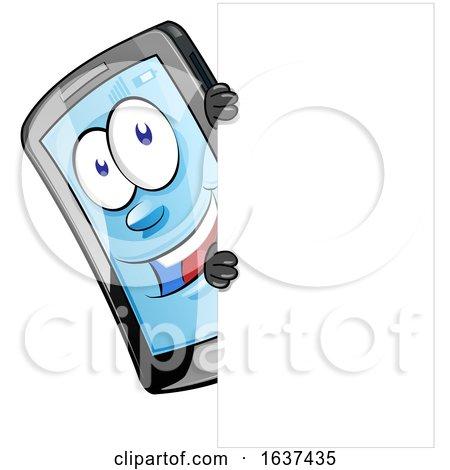 Cartoon Smart Phone Mascot with a Sign by Domenico Condello