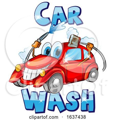 Cartoon Happy Red Car Character Mascot Washing Itself by Domenico Condello