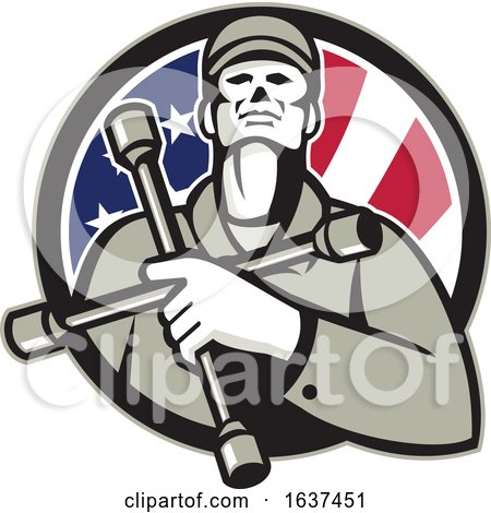 MECHANIC-hold-TIRE-wrench-on-chest-USA-FLAG-CIRC by patrimonio
