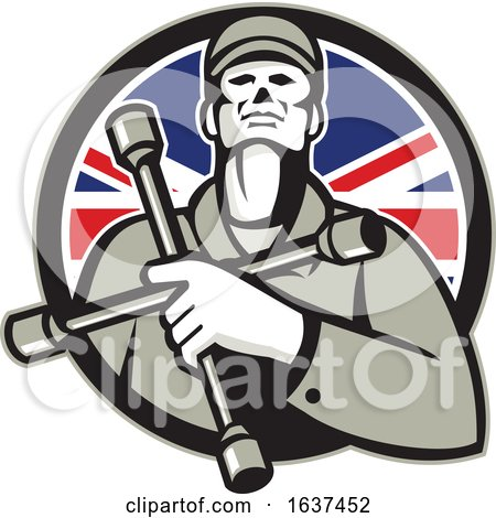 British Tyre Technician Lug Wrench Union Jack Flag Circle Icon by patrimonio