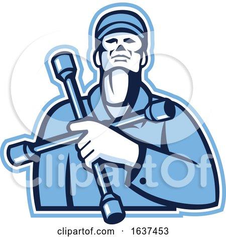 Tire Mechanic Holding Lug Wrench Retro by patrimonio