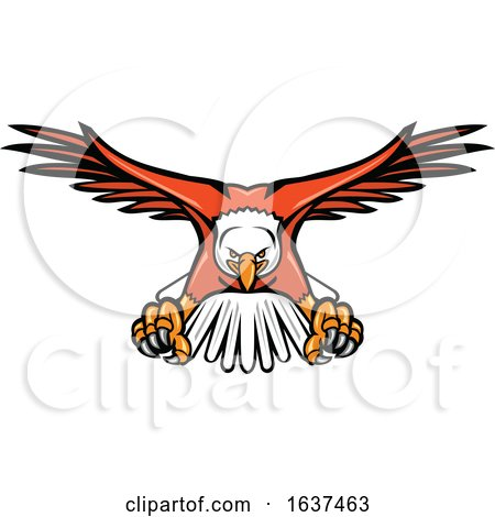 Bald Eagle Swooping Front Mascot by patrimonio