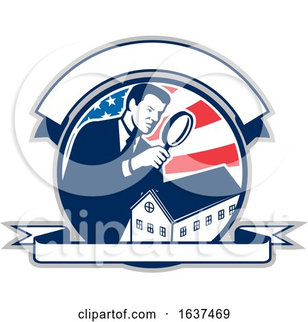 American School Inspector USA Flag Icon Retro by patrimonio