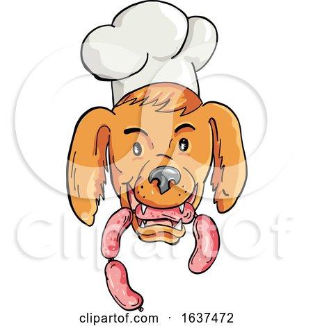 Chef Dog Biting Sausage String Cartoon Color by patrimonio
